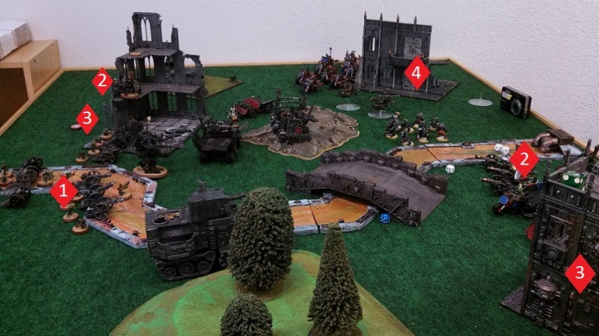 Orks versus Orks board with objectives April 3 2014