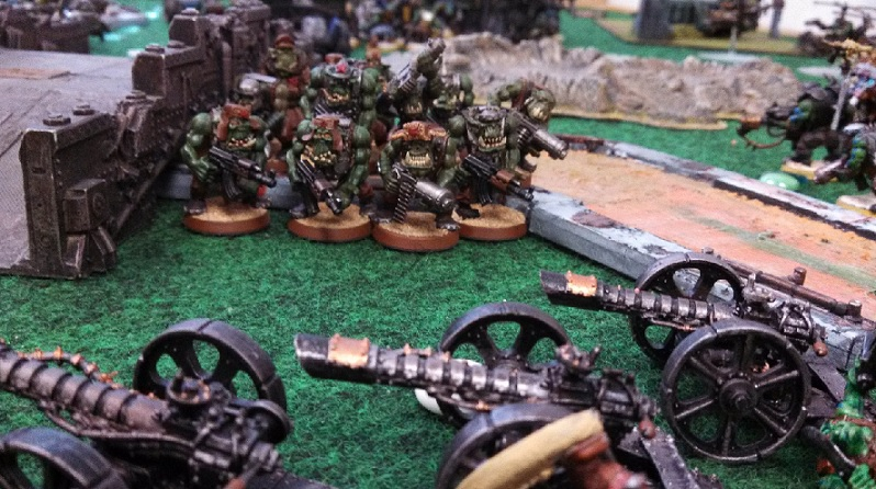 Orks versus Orks boyz charging Mike's guns April 3 2014