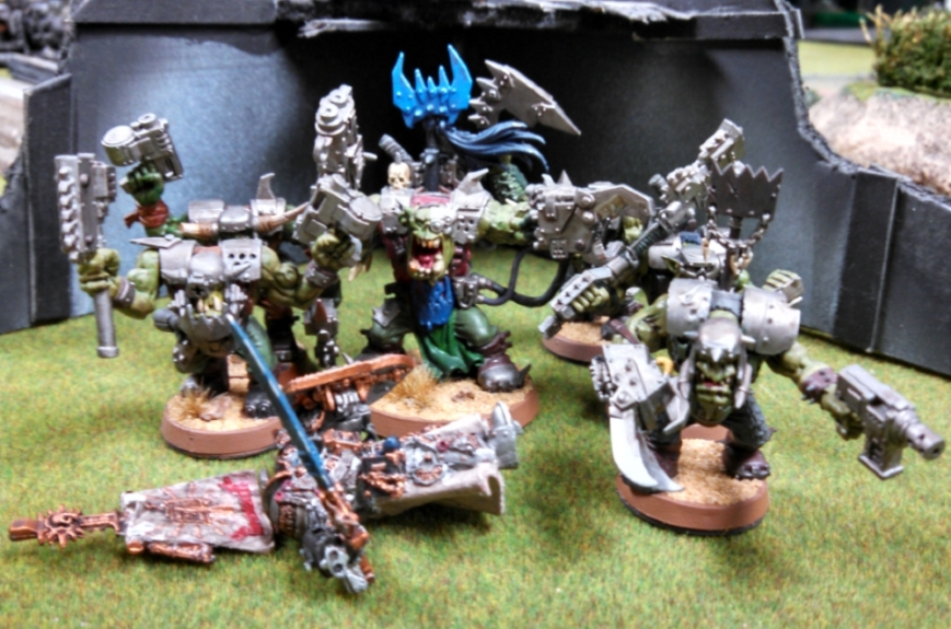 Grey Knights and Iron Hands vs Orks Feb 2015 Boss standing over dead Draigo