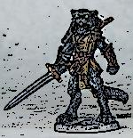 Dragons of Lancasm Catfolk Warrior Reaper 03893 ink sketch 150 wide