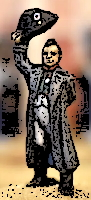 Napoleon doffing his hat stylized ink sketch 200 tall from picture by Suburban Militarism