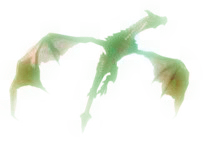 Flying Glowing Green Dragon clip art