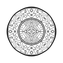 Introverted hermit mandala 25 black and white 125 wide